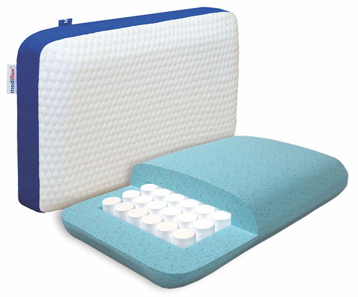 Подушка ортопедическая Mediflex Nanoform, размер L, 50 х 70 см16056Сон на неправильной подушке является причиной ухудшения качества сна. Ортопедические подушки Mediflex Nanoform разработаны специалистами лаборатории сна совместно с академиком В.И. Дикулем, гарантируют поддержку шейных позвонков во время сна.Mediflex Nanoform - это ортопедическая модель с блоком независимых пружин, она создает деликатное давление для головы и шеи, что понравится людям, которые любят упругие подушки. Съемный чехол выполнен из: полиэстера 51%, вискозы 46%, эластана 3%, несъемный чехол - 100% хлопок.Характеристики:Высота - 14 см.Уровень жесткости: средняя.Наполнитель:- Гранулированный материал Mediflex Recovery - это гранулированный эко-гель в сочетании с эффектом памяти;- Блок независимых пружин NanoPocket.
