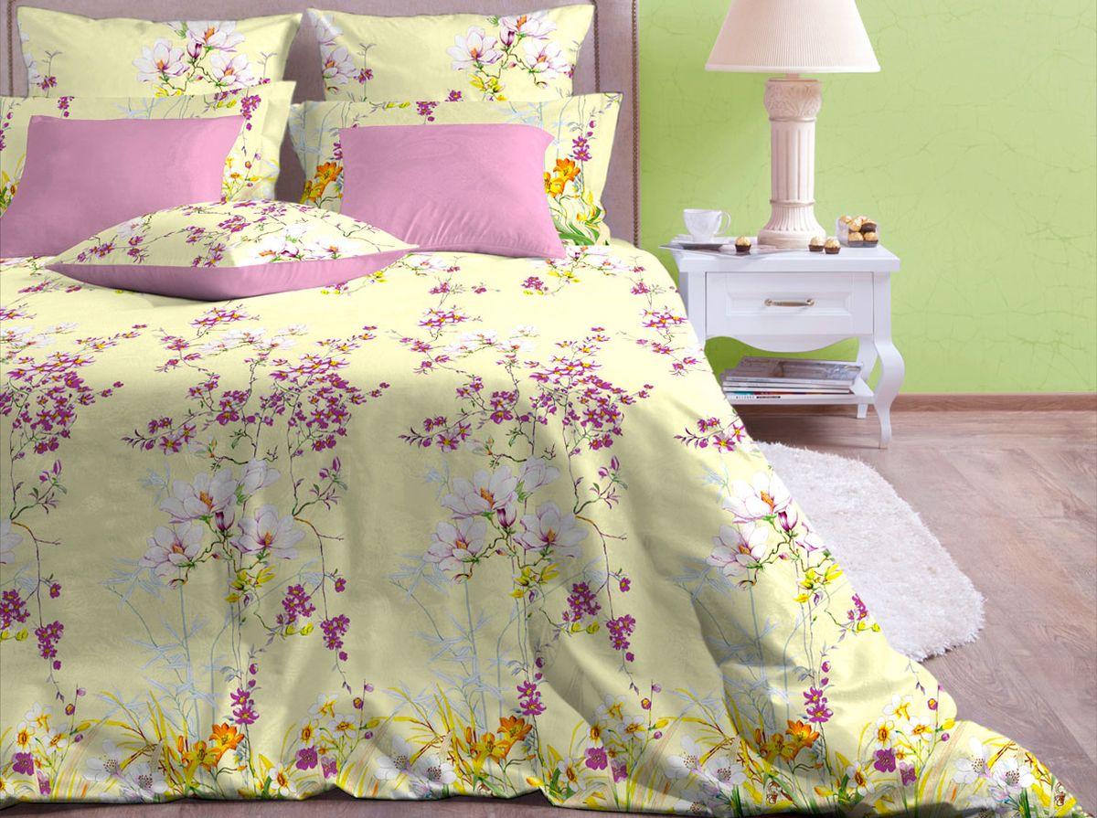 Комплект белья Хлопковый Край Весна, 2-спальный, наволочки 70x70CLP446Комплект постельного белья выполнен из качественной бязи и украшен оригинальным рисунком. Комплект состоит из пододеяльника, простыни и двух наволочек.Бязь представляет из себя хлопчатобумажную матовую ткань (не блестит). Главные отличия переплетения: оно плотное, нити толстые и частые. Из-за этого материал очень прочный и практичный.Постельное белье Хлопковый Край экологичное, гипоаллергенное, оно легко стирается и гладится, не сильно мнется и выдерживает очень много стирок, при этом сохраняя яркость цвета и рисунка.
