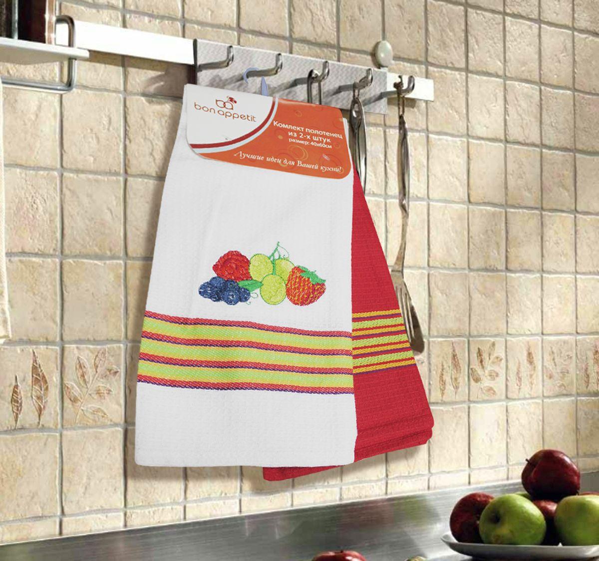 Набор кухонных полотенец Bon Appetit Berrys, цвет: красный, 2 штVT-1520(SR)Кухонные Полотенца Bon Appetit - В помощь хозяйке на кухне!!! Кухонные Полотенца Bon Appetit идеально дополнят интерьер вашей кухни и создадут атмосферу уюта и комфорта. Полотенца выполнены из натурального 100% Хлопка, поэтому являются экологически чистыми. Качество материала гарантирует безопасность не только взрослых, но и самых маленьких членов семьи.Bon Appetit – Интерьер и Практичность Современной Кухни!