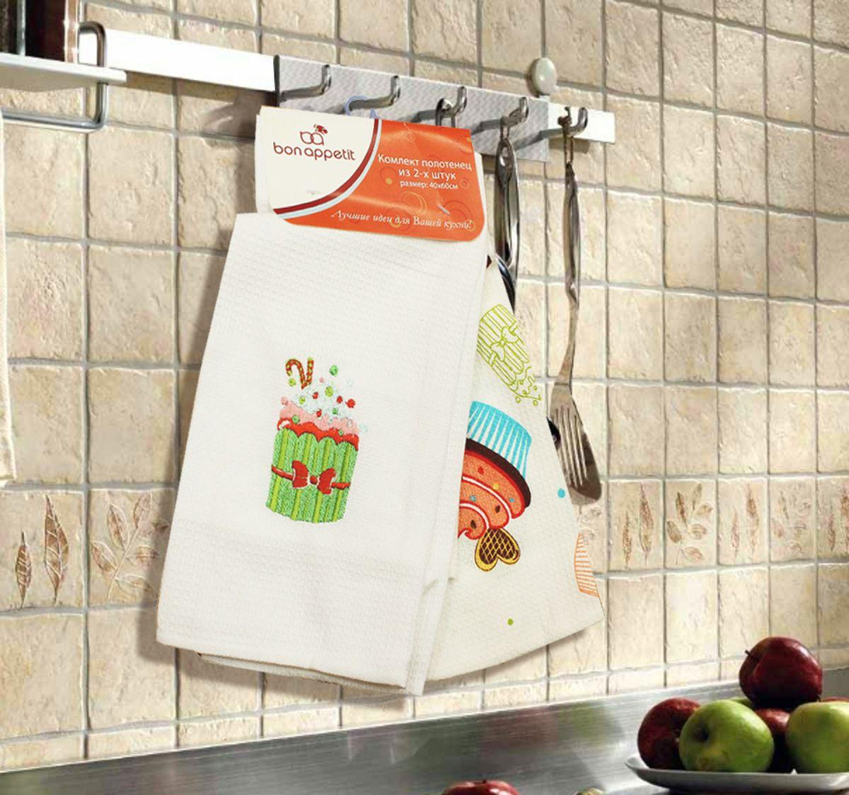 Набор кухонных полотенец Bon Appetit Cake, цвет: зеленый, 2 штVT-1520(SR)Кухонные Полотенца Bon Appetit - В помощь хозяйке на кухне!!! Кухонные Полотенца Bon Appetit идеально дополнят интерьер вашей кухни и создадут атмосферу уюта и комфорта. Полотенца выполнены из натурального 100% Хлопка, поэтому являются экологически чистыми. Качество материала гарантирует безопасность не только взрослых, но и самых маленьких членов семьи.Bon Appetit – Интерьер и Практичность Современной Кухни!