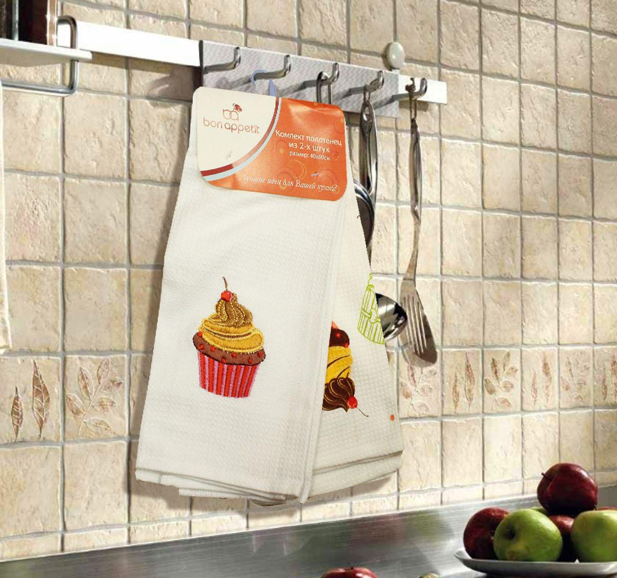 Набор кухонных полотенец Bon Appetit Cake, цвет: белый, 2 шт1004900000360Кухонные Полотенца Bon Appetit - В помощь хозяйке на кухне!!! Кухонные Полотенца Bon Appetit идеально дополнят интерьер вашей кухни и создадут атмосферу уюта и комфорта. Полотенца выполнены из натурального 100% Хлопка, поэтому являются экологически чистыми. Качество материала гарантирует безопасность не только взрослых, но и самых маленьких членов семьи.Bon Appetit – Интерьер и Практичность Современной Кухни!