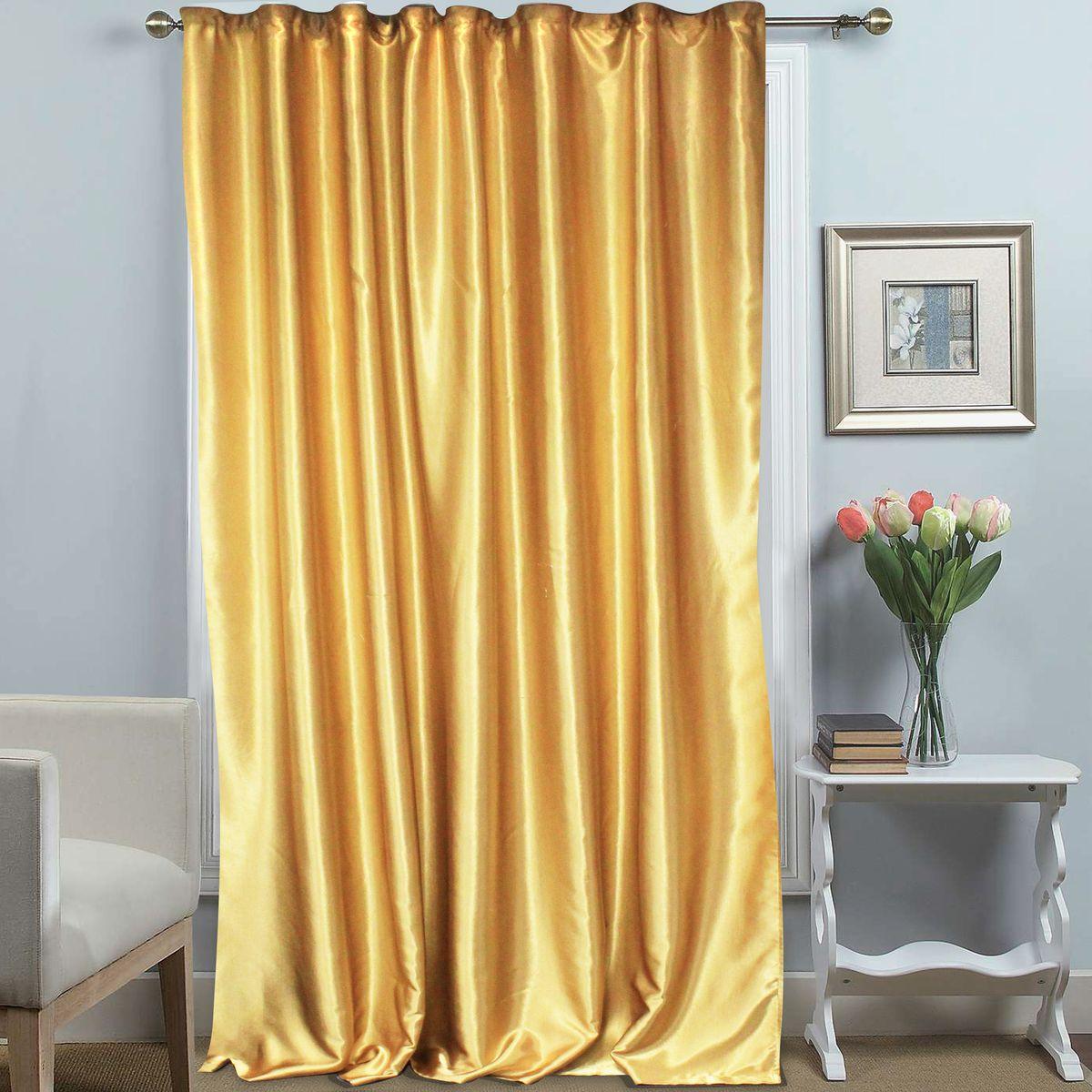 Штора Amore Mio, на ленте, цвет: золото, высота 270 см. 69715K100Однотонная штора на ленте Amore Mio с золотым теплым блеском украсит любое окно. Изделие изготовлено из 100% полиэстера. Полиэстер - вид ткани, состоящий из полиэфирных волокон. Ткани из полиэстера легкие, прочные и износостойкие. Такие изделия не требуют специального ухода, не пылятся и почти не мнутся.