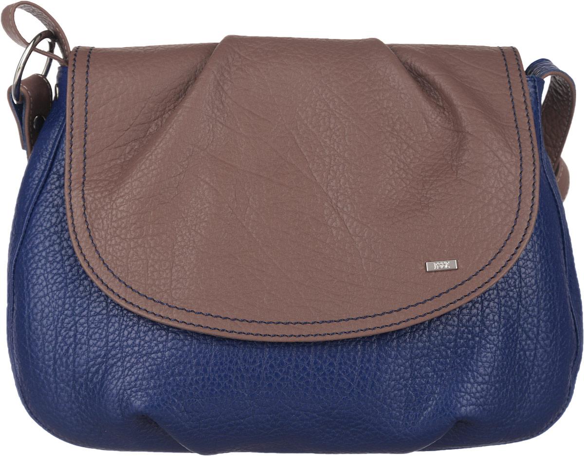 Сумка женская Esse Оливия, цвет: синий, коричневый. GOLV5U-00ML00-FG508O-K1003-47670-00504Небольшая женская сумка Esse Оливияизготовлена из натуральной кожи. Модель создана для женщин, ценящих оригинальный дизайн в сочетании с функциональностью и комфортом. Сумка состоит из одного отделения, закрывается на молнию и дополнительно клапаном на магнитной кнопке. Клапан декорирован отстрочкой и металлической пластиной с названием бренда. Отделение содержит накладной карман для телефона и мелочей, а также врезной карман на молнии. На задней стенке врезной карман на молнии. Сумка оснащена несъемным плечевым ремнем, регулируемой длины.Прилагается текстильный фирменный чехол для хранения.Оригинальный аксессуар позволит вам завершить образ и быть неотразимой.