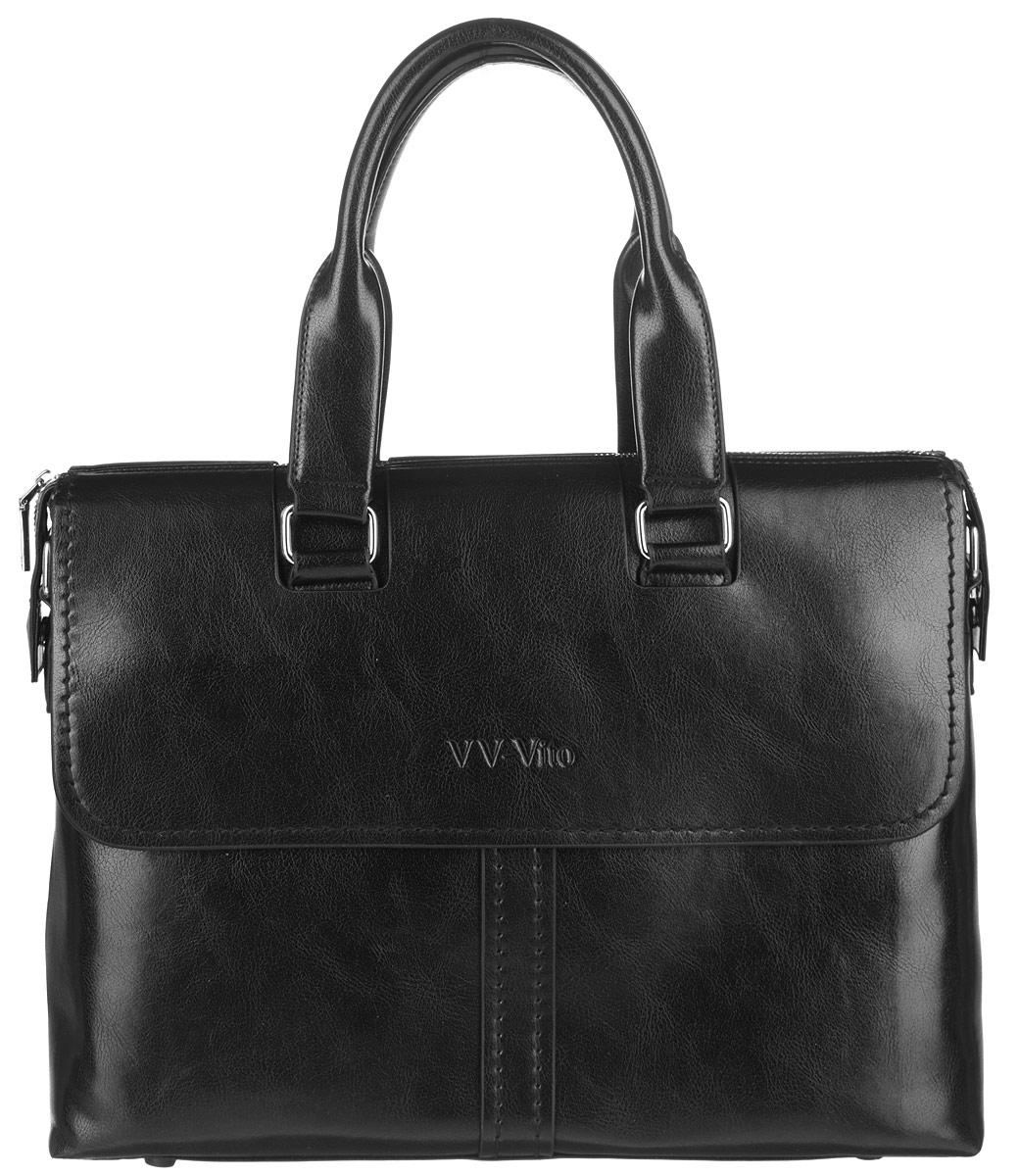 Сумка мужская Vera Victoria Vito, цвет: черный. 35-609-1579995-400Стильная мужская сумка Vera Victoria Vito выполнена из экокожи. Изделие имеет одно вместительное отделение, которое закрывается на застежку-молнию. Внутри сумки находятся прорезной карман на застежке-молнии, два открытых прорезных кармана и мягкий карман для планшета, закрывающийся на хлястик с липучкой. Снаружи, на передней и задней стенках расположены накладные карманы на магнитных кнопках, дополнительно закрывающиеся на клапаны с магнитами. Сумка оснащена двумя удобными ручками. В комплект входит съемный текстильный плечевой ремень, регулирующийся по длине.Основание изделия защищено от повреждений пластиковыми ножками. Стильная сумка идеально подчеркнет ваш неповторимый стиль.