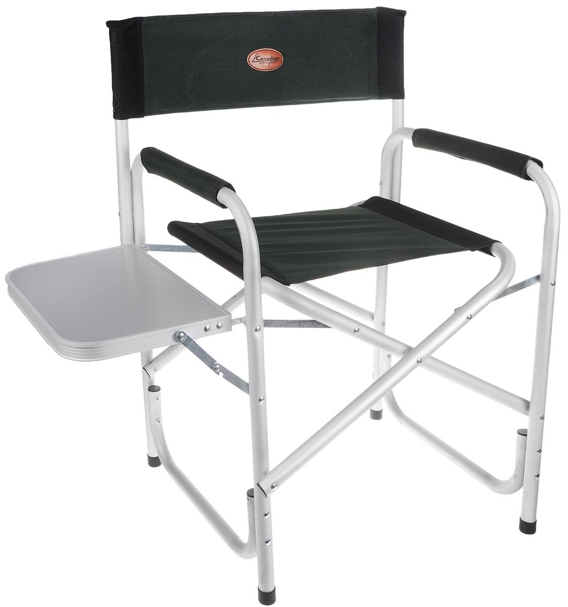 Кресло складное Canadian Camper CC-100AL, цвет: зеленый, черный, серый31100023Складное кресло Canadian Camper CC-100AL с мягкими подлокотниками предназначено для отдыха на природе, рыбалки, загородного дома. На одном из подлокотников складной барный столик. Каркас кресла выполнен из алюминиевой трубы. Специальная конструкция ножек с дополнительной нижней трубой обеспечивает прочность и препятствует проваливанию кресла в песок. Тканевые элементы кресла выполнены из стойкого к ультрафиолетовому излучению материала. В сложенном состоянии представляет собой плоский пакет, что упрощает его транспортировку и хранение.Размер кресла (без учета столика): 62 х 50 х 86 см.Размер столика: 39 х 25,5 см.