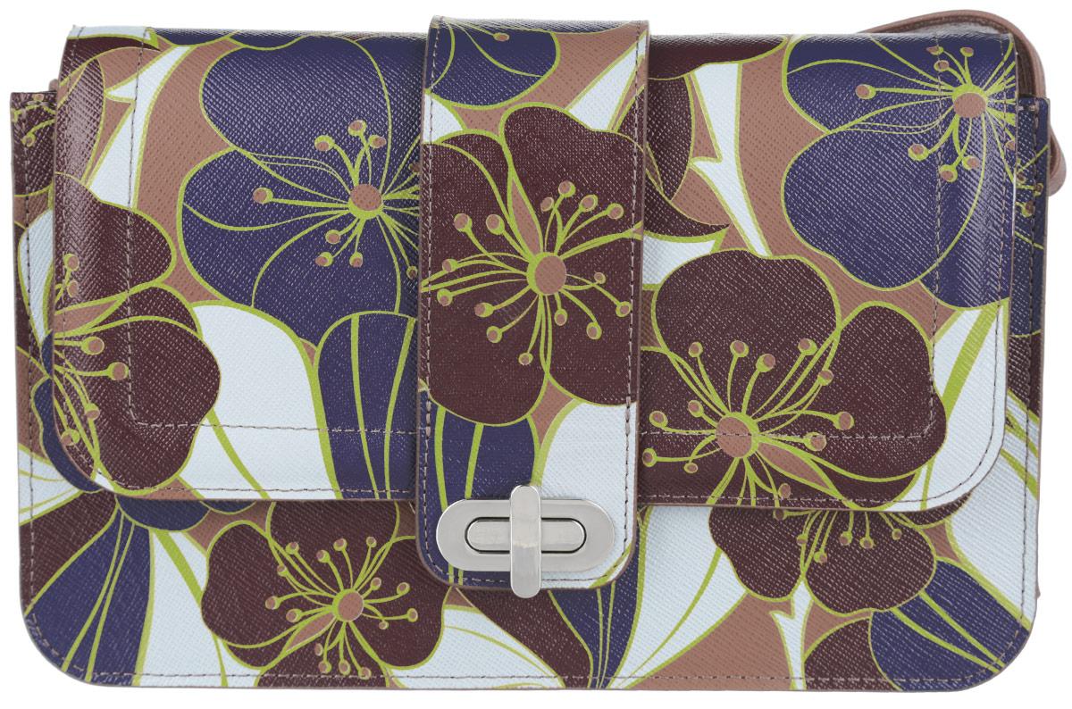 Сумка женская Esse Матри, цвет: коричневый, фиолетовый, светло-серый. GMTR5U-00ZF09-FH013O-K10010931-1Стильная женская сумка Esse Матри изготовлена из натуральной кожи и оформлена цветочным принтом. Изделие имеет одно основное отделение, внутри которого расположены накладной открытый карман и прорезной карман на застежке-молнии. Закрывается изделие на клапан с поворотным замком.Сумка оснащена регулируемым плечевым ремнем. Модная сумка внесет элегантные нотки в ваш образ и подчеркнет ваше отменное чувство стиля.
