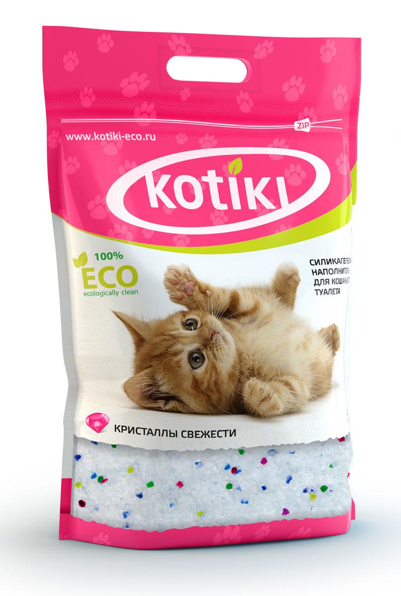 Наполнитель для кошачьего туалета Kotiki Кристаллы свежести, 5 л00000000106Силикагелевый наполнительдля кошачьего туалета Kotiki Кристаллы свежести, благодаря своему специально-разработанному составу, моментально впитывает в себя всю влагу и неприятные запахи. Все это надежно блокируется внутри кристаллов и предотвращает размножение бактерий.