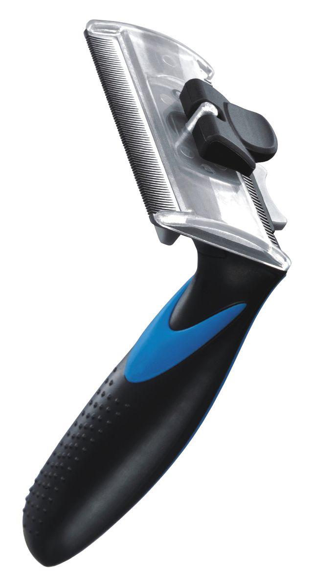 Фурбраш Ziver-411, с двойным ножом, цвет: синий. Размер L0120710ФУРБРАШ ZIVER-411, Размер L 7,65см (двойной нож)
