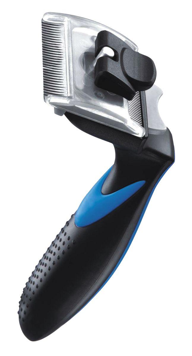 Фурбраш Ziver-410, с двойным ножом, цвет: синий. Размер S0120710ФУРБРАШ ZIVER-410, Размер S 4,45 см (двойной нож)