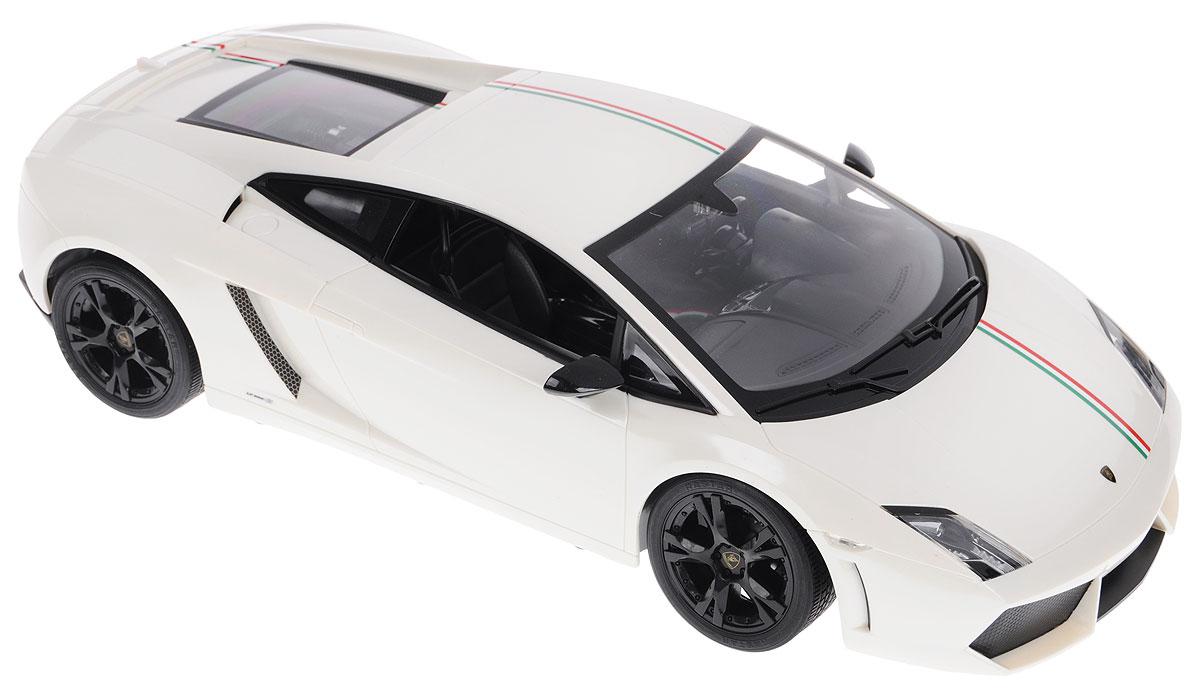 """Радиоуправляемая модель Rastar """"Lamborghini Gallardo LP550-2 Tricolore"""" - это прекрасно смоделированная копия реального автомобиля, которая отличается хорошей детализацией. Модель представлена в масштабе 1/10 и в точности воспроизводит все детали внешнего облика реального автомобиля. Корпус автомобиля выполнен из пластика с использованием металлических элементов, колеса прорезинены. Радиоуправляемые игрушки способствуют развитию координации движений, моторики и ловкости. Ваш ребенок увлеченно будет играть с моделью, придумывая различные истории и устраивая соревнования. Подарите вашему ребенку возможность почувствовать себя настоящим водителем. Машина работает от сменного аккумулятора (входит в комплект). Заряжается при помощи зарядного устройства (входит в комплект). Пульт управления работает от батарейки 9V типа """"Крона"""" (не входит в комплект)."""