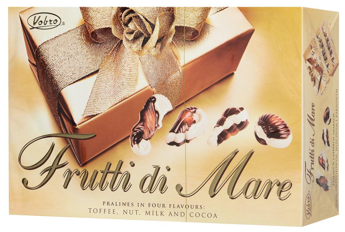 Vobro Frutti di Mare набор шоколадных конфет в виде морских ракушек, 350 г4009900481090Vobro Frutti di Mare - шоколадные конфеты из белого и молочного шоколада с кремовой начинкой с ореховым, молочным вкусом, а также вкусами какао и тоффи станут прекрасным дополнением к любому чаепитию и отличным подарком для друзей и близких.