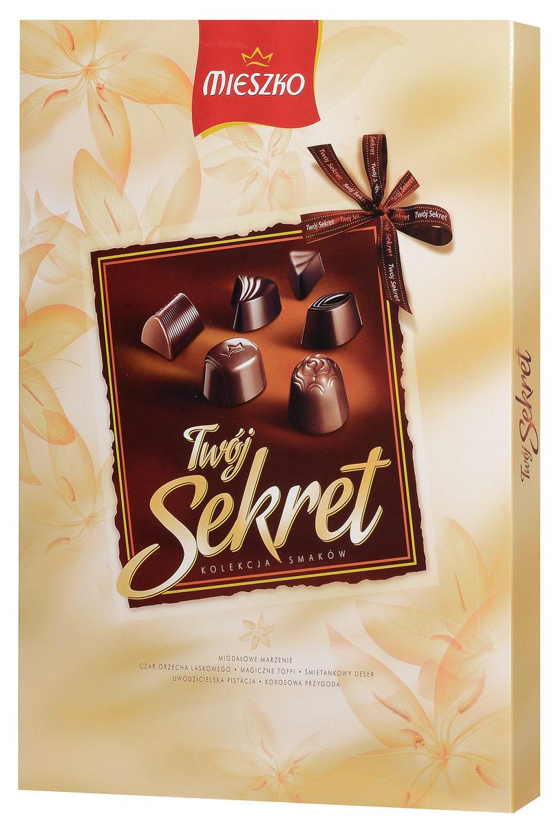 Mieszko Твой Секрет набор шоколадных конфет, 324 г0120710Шоколадные конфеты с начинкой Mieszko Твой Секрет - ассорти в десертном и молочном шоколаде, которое состоит из 6 вкусов и займет достойное место как на праздничном столе так и как повседневное лакомство к чаю.