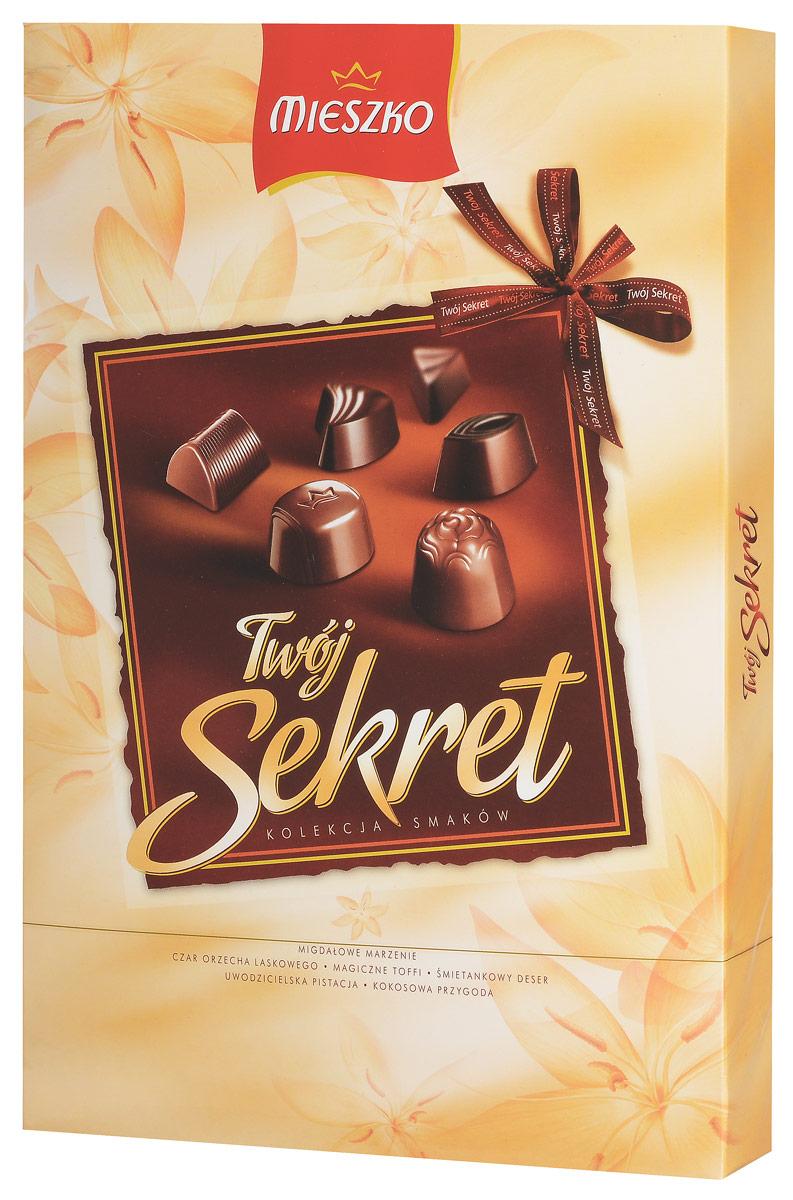 Mieszko Твой Секрет набор шоколадных конфет, 162 г0120710Mieszko Твой Секрет - шоколадные конфеты ассорти с начинкой в десертном и молочном шоколаде прекрасно подойдут в качестве сладкого презента и безусловно украсят любое чаепитие.