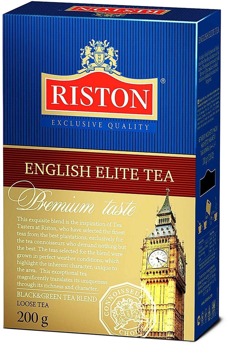 Riston Элитный Английский черный листовой чай, 200 г0120710Riston Элитный Английский - уникальный купаж черного и зеленого элитного чая, выращенного на лучших плантациях Шри-Ланки. Насыщенный яркий аромат и необычайно мягкий вкус настоя средней крепости деликатно оттенен бергамотом. Стандарт FBOP.