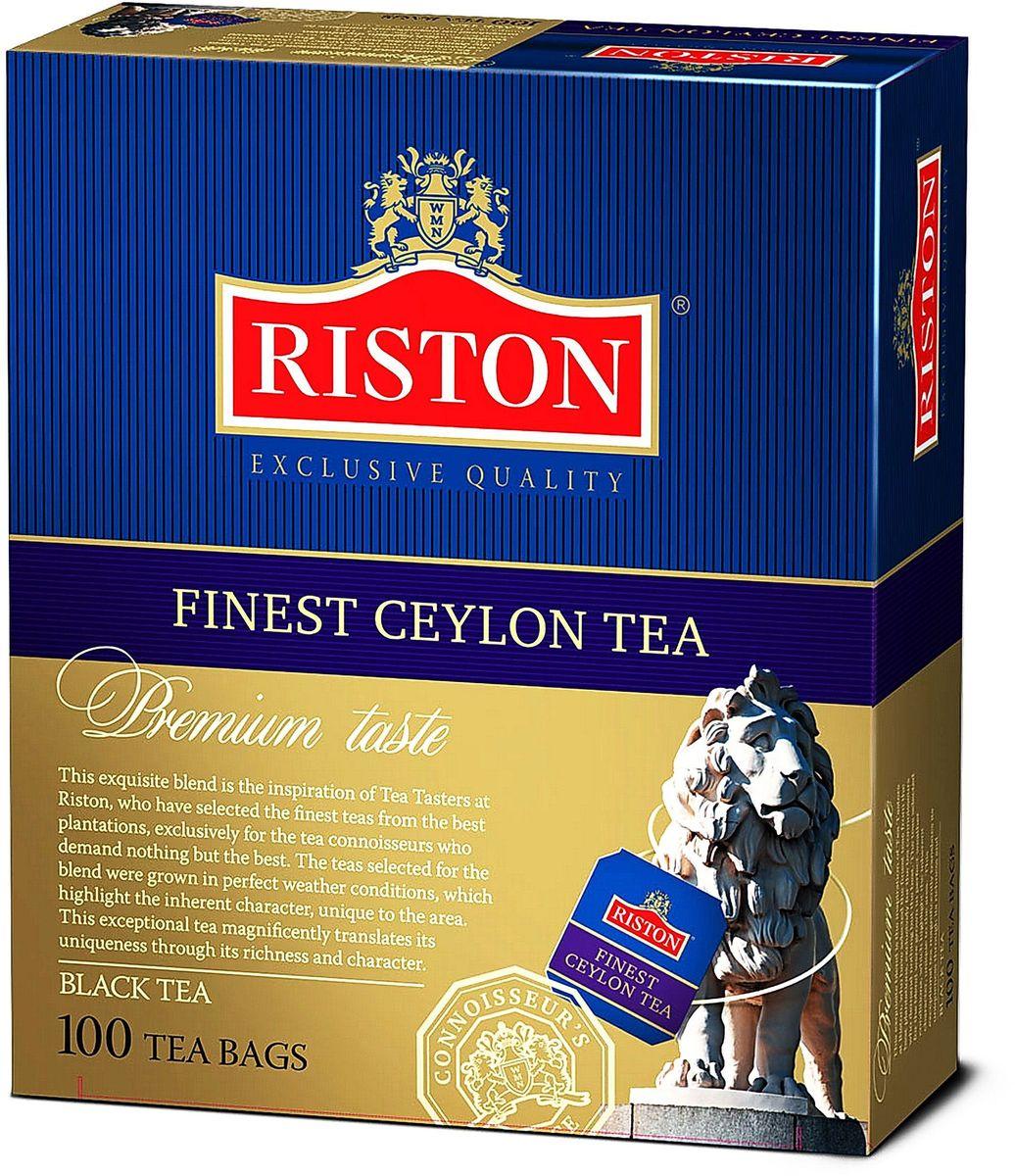 Riston Файнест Цейлон черный чай в пакетиках, 100 шт101246Черный чай Riston Файнест Цейлон с классическим вкусом и богатым насыщенным ароматом, собранный на горных плантациях Димбулы (Цейлон), согревает наши мысли и дарит удивительное настроение на весь день. Оставляет долгое, необыкновенно приятное послевкусие. Стандарт BOPF.