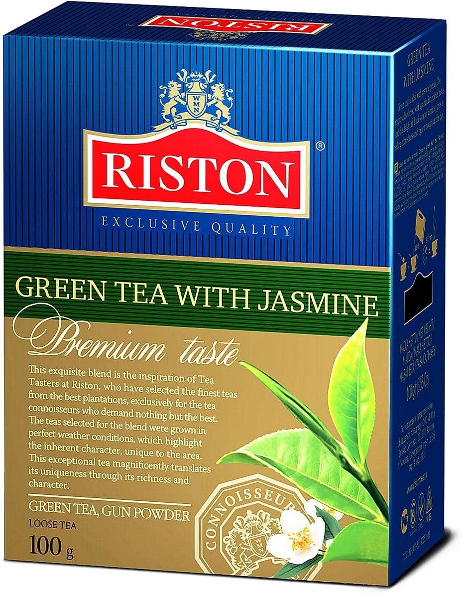 Riston с Жасмином зеленый листовой чай, 100 г8938506647042Зеленый чай Riston с добавлением лепестков жасмина. Ярко выраженный золотистый настой напитка с особым утонченным вкусом и восхитительным цветочным ароматом жасмина дарит ощущение свежести и бодрости в течение всего дня.