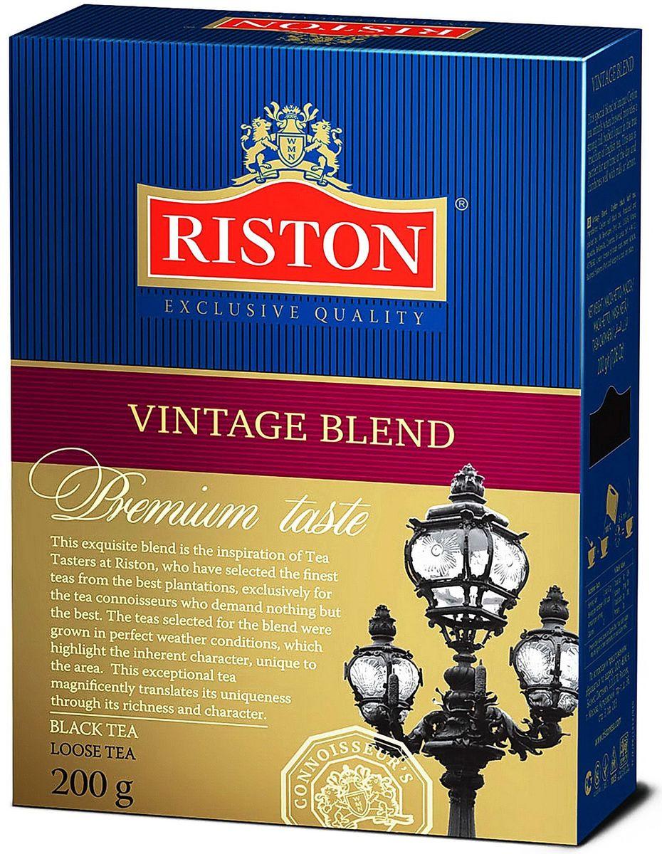 Riston Винтаж Бленд черный листовой чай, 200 г4607099307339Riston Винтаж Бленд - это исключительный купаж, где крупный лист настоящего цейлонского чая раскрывается во время заваривания и дает крепкий насыщенный настой в лучших традициях английского чаепития. Этот чай прекрасен для любого времени дня, отлично сочетается с молоком или лимоном.