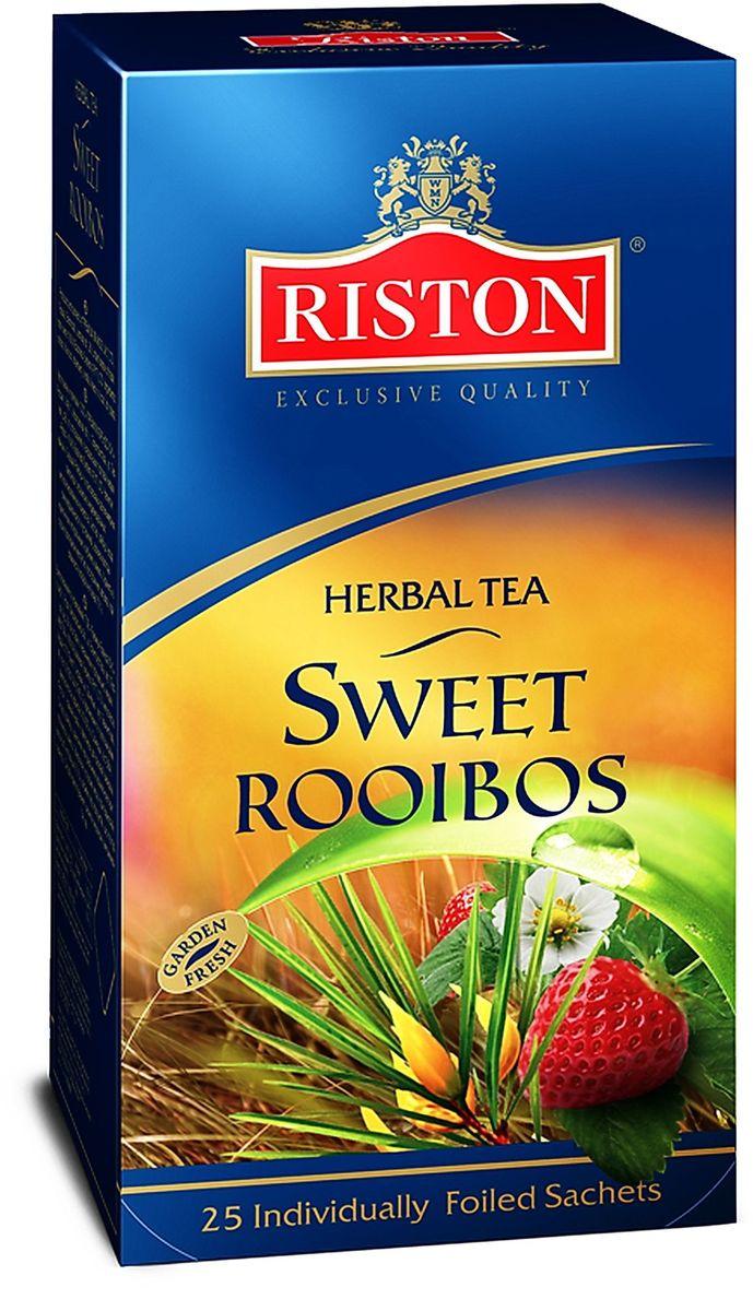 Riston Сладкий Ройбуш травяной чай в пакетиках, 25 шт101246Изысканный южноафриканский ройбуш ароматизированный клубникой и ванилью обладает освежающим вкусом, идеален для любого времени суток, а также превосходно согревает в горячем виде и освежает в охлажденном.