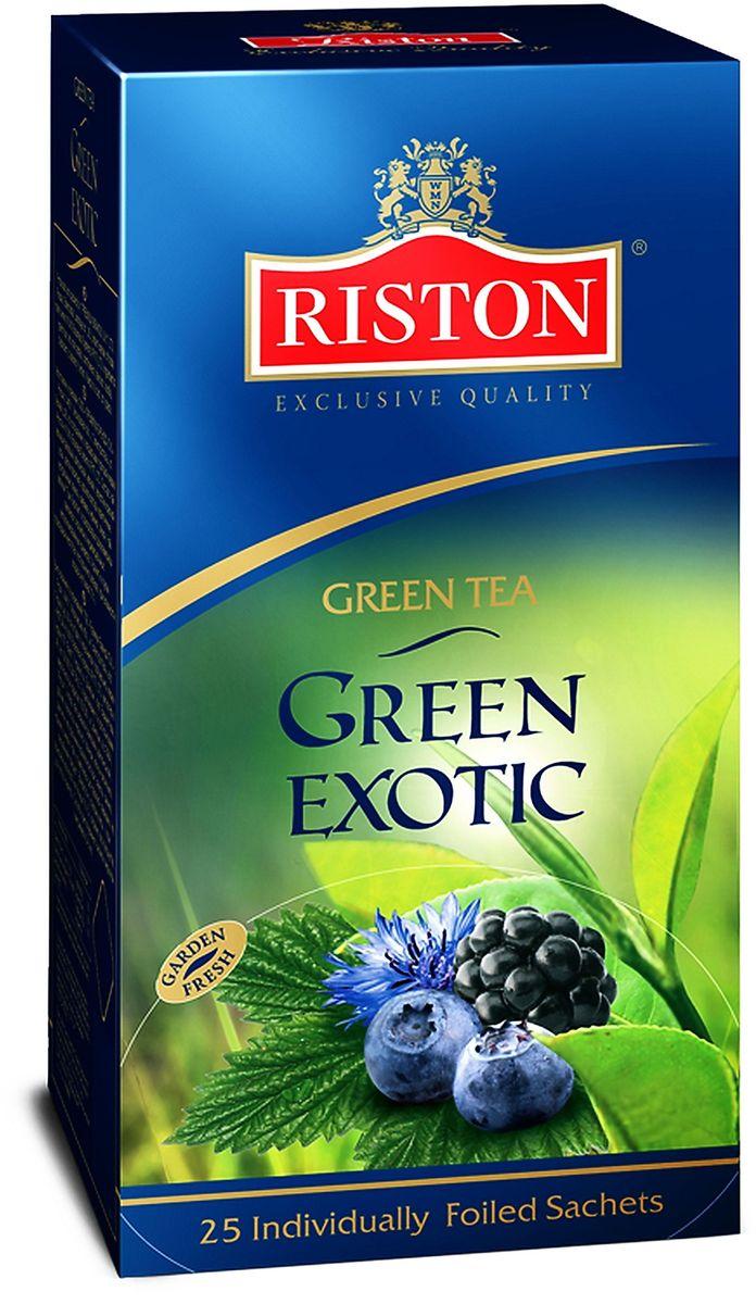 Riston Green Exotic зеленый чай в пакетиках, 25 шт4792156000404Классический зеленый чай Riston Green Exotic в сочетании с лепестками красной розы и васильками, деликатно ароматизированный экзотической ванилью, ежевикой, черникой и лимоном. Обладает потрясающим вкусом и нежным цветочным ароматом, превосходно согревает в горячем виде и замечательно освежает в охлажденном.
