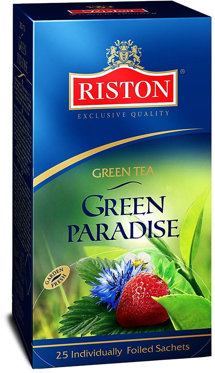 Riston Зеленый Парадайз зеленый чай в пакетиках, 25 шт0120710Классический зеленый чай Riston Зеленый Парадайз в сочетании с лепестками красной розы и васильками, деликатно ароматизированный клубникой и розовым маслом. Обладает потрясающим вкусом и нежным цветочным ароматом, превосходно согревает в горячем виде и замечательно освежает в охлажденном.