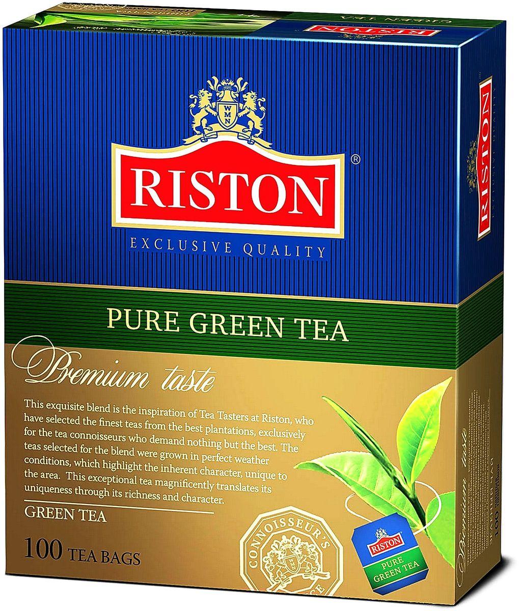 Riston Green зеленый чай в пакетиках, 100 шт0120710Зеленый чай Riston высшей категории с насыщенным терпким вкусом и изысканным ароматом. Мягкий золотистый настой напитка помогает расслабиться и почувствовать отдохновение после длинного насыщенного дня.