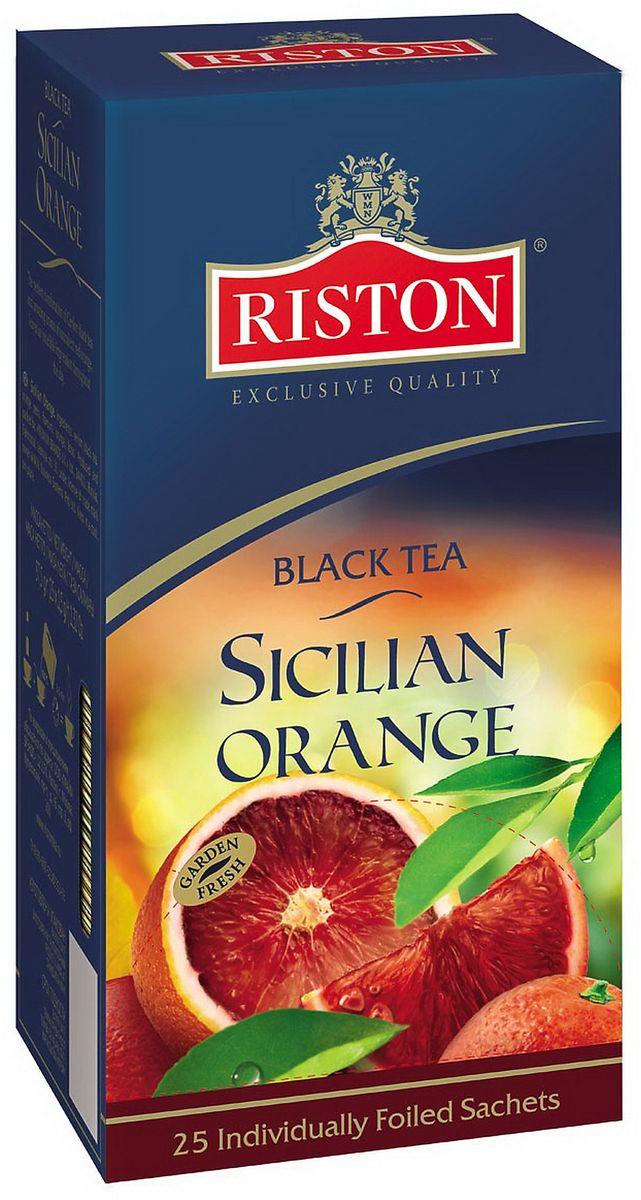 Riston Сицилийский апельсин черный чай в пакетиках, 25 шт4792156011332Безупречное сочетание черного цейлонского чая и изумительного аромата сочного красного апельсина и зеленого лотоса сделает день по-настоящему незабываемым.