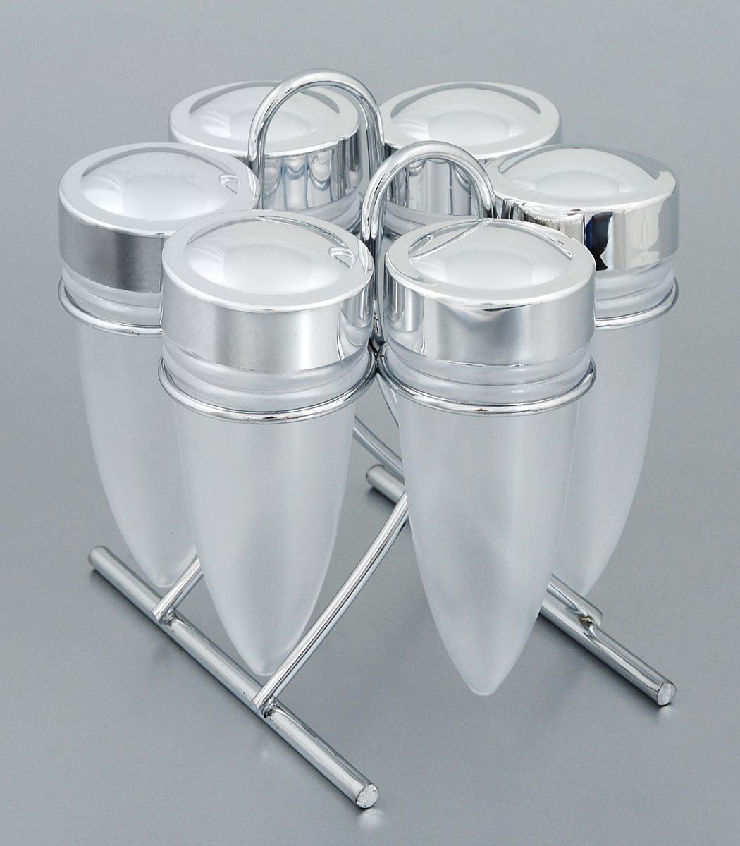 Набор для специй Rosenberg, на подставке, 7 предметов. 629389492001Набор Rosenberg состоит из 6 емкостей для специй и подставки. Емкости выполнены из прочного пластика и снабжены удобными крышками. Для хранения емкостей предусмотрена подставка из стали с хромированной поверхностью. Такой набор поможет хранить под рукой самые часто используемые специи. Объем емкости: 60 мл. Высота емкости (без учета крышки): 10,7 см. Диаметр емкости (по верхнему краю): 4 см.Размер подставки: 13 х 8,5 х 12,5 см.