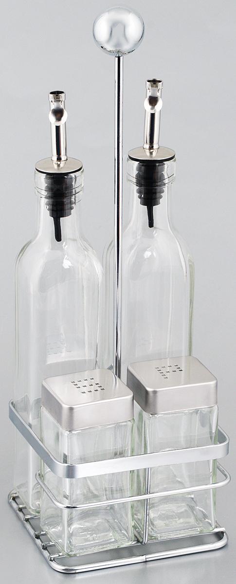 Набор для специй Rosenberg, на подставке, 5 предметов. 6251VT-1520(SR)Набор для современной кухни Rosenberg - это не только идеальный подарок, но и прекрасный повод побаловать себя!В набор входят 2 емкости для масла/уксуса, солонка, перечница и подставка. Изделия выполнены из высококачественного стекла. Такой набор оценят ценители единого современного стиля. Востребованное сочетание цветов выполнено в лучших европейских традициях. Объем емкостей для масла/уксуса: 250 мл. Высота емкостей для масла/уксуса (без учета крышки): 21,5 см. Размер основания емкостей для масла/уксуса: 4,7 х 4,7 см.Объем солонки/перечницы: 100 мл. Высота солонки/перечница (без учета крышки): 9,5 см.Размер основания солонки/перечница: 4,5 х 4,5 см.Размер подставки: 11 х 11 х 32 см.