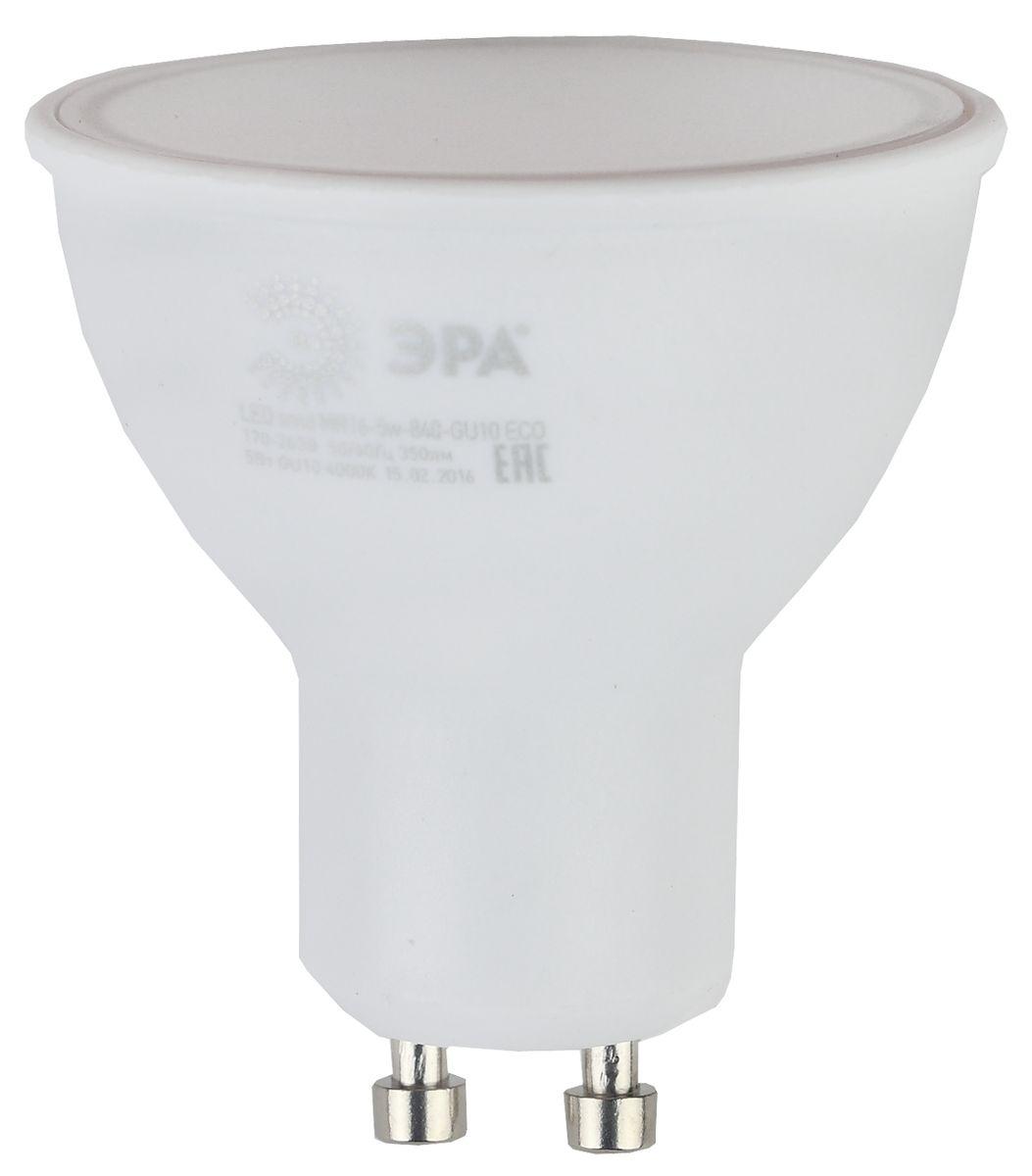 Лампа светодиодная ЭРА, цоколь GU10, 170-265V, 5W, 2700К. Б00190625055945528855Светодиодная лампа ЭРА является самым перспективным источником света. Основным преимуществом данного источника света является длительный срок службы и очень низкое энергопотребление, так, например, по сравнению с обычной лампой накаливания светодиодная лампа служит в среднем в 50 раз дольше и потребляет в 10-15 раз меньше электроэнергии. При этом светодиодная лампа практически не подвержена механическому воздействию из-за прочной конструкции и позволяет получить любой цвет светового потока, что, несомненно, расширяет возможности применения и позволяет создавать новые решения в области освещения.Особенности серии Eco:Предназначена для обычного потребителяЦена ниже, чем цена компактной люминесцентной лампыСветовая отдача источников света - 70-80 лм/ВтСрок службы составляет 25000 часовГарантия - 1 год. Работа в цепи с выключателем с подсветкой не рекомендована.