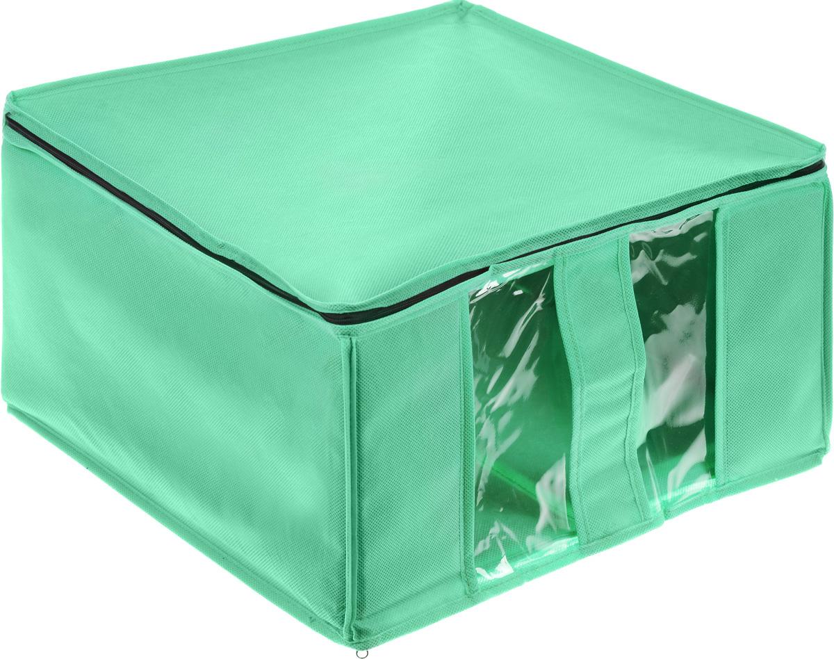Кофр для хранения Miolla, цвет: зеленый, 40 x 40 x 25 см07PB021Кофр Miolla выполнен из высококачественного спанбонда (нетканого материала). Прозрачные полиэтиленовые окошки позволяют видеть содержимое внутри. Подходит для длительного хранения вещей и закрывается откидной крышкой на застежке-молнии. Дно и стенки кофра оснащены специальными вставками из картона, которые держат его форму. Также кофр оснащен удобной ручкой, благодаря которой изделие можно использовать в качестве выдвижного ящика в гардеробе или шкафу. Такой кофр обеспечит вашей одежде надежную защиту от влажности, повреждений и грязи при транспортировке, от запыления при хранении и проникновения моли, а также позволит воздуху свободно поступать внутрь вещей, обеспечивая их кондиционирование.