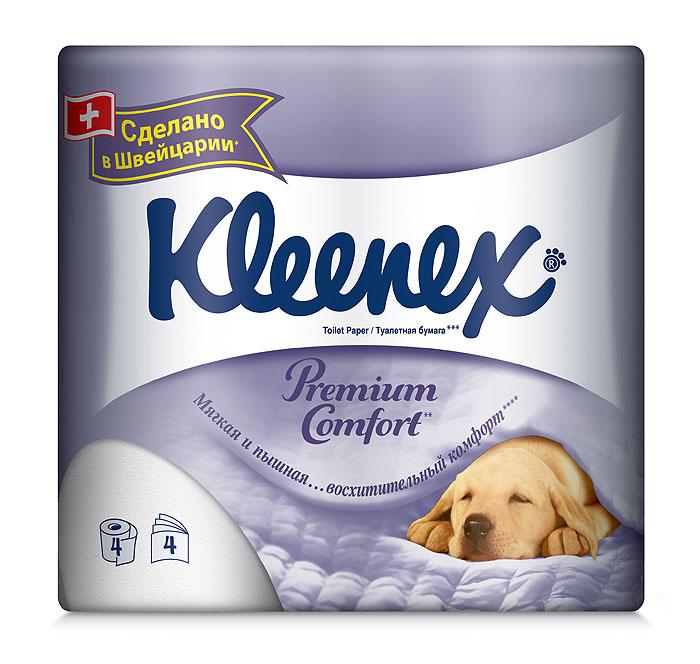 Туалетная бумага Kleenex Premium Comfort, четырехслойная, цвет: белый, 4 рулона010-01199-23Четырехслойная туалетная бумага Kleenex Premium Comfort премиум класса изготовлена из целлюлозы высшего качества. Листы белого цвета имеют рисунок с тиснением. Мягкая, нежная, но в тоже время прочная, бумага не расслаивается и отрывается строго по линии перфорации.Уникальность бумаги в том, что она пышная. Это стало возможно благодаря воздушному тиснению, по структуре похожему на пуховое одеяло. 100% целлюлоза придает бумаге премиальный, кристально белый цвет.