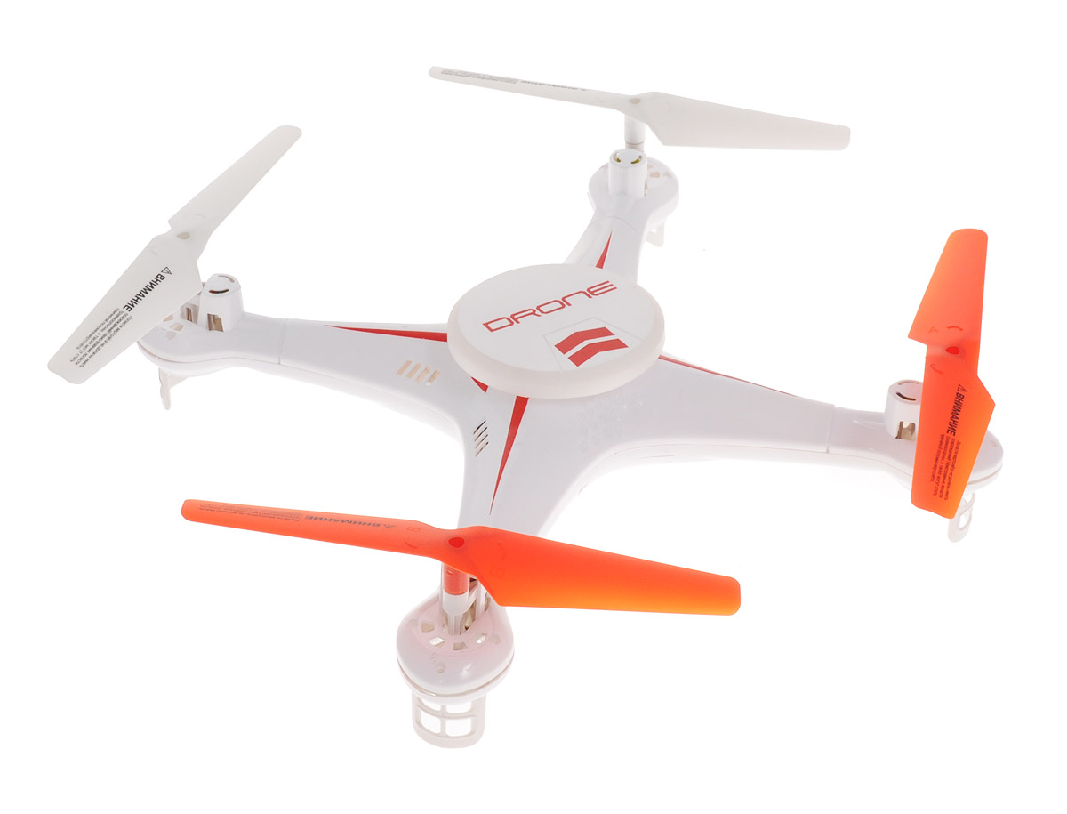 """Большой квадрокоптер на радиоуправлении 1TOY """"Gyro-Drone"""" c встроенным гироскопом отлично подходит для полетов на улице. Шестиосевой гироскоп делает управление точным и предсказуемым, и вместе с режимом Headless Mode позволяет уверенно управлять квадрокоптером (функция активируется в полёте). Большая круглая платформа квадрокоптера светится, благодаря чему модель прекрасно видна даже в темное время суток. Игрушка может летать вперед-назад, вверх-вниз, вращаться, зависать в воздухе, двигаться боком и восьмеркой. Аппарат имеет 2 скоростных режима. Автоматический режим позволяет квадрокоптеру возвращаться в точку старта. Также игрушка может совершать переворот на 360° находясь в полете. Визуальная отладка вращения позволяет быстро и удобно отрегулировать управление моделью, а после завершения процедуры настройки квадрокоптер помигает в ответ диодами. Полностью заряженный аппарат летает 10 минут. Пульт управления работает на частоте 2,4 ГГц Игрушка..."""