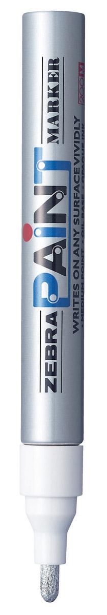 Zebra Маркер перманентный Paint цвет серебряный413500Маркер перманентный Paint с износоустойчивым амортизированным наконечником, выполненный из пластика, станет незаменимым аксессуаром в учебе или работе.Маркер содержит жидкие чернила серебряного цвета, которые обеспечивают ровные и четкие линии. Насыщенный цвет сплошной линии, оставляемый маркером, не зависит от цвета окрашиваемой поверхности. Маркер перманентный Paint пишет на любой поверхности.
