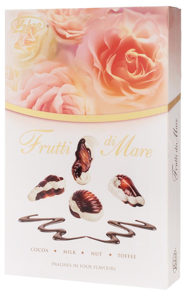 Vobro Frutti di Mare набор шоколадных конфет в виде морских ракушек, 175 г4009900481076Уникальная форма и неповторимый вкус… Такими являются коробки конфет Vobro Frutti di Mare в виде морепродуктов. Прекрасная композиция белого и черного шоколада, и к тому же начинка 4 вкусов: какао, арахис, молочный и тоффи.