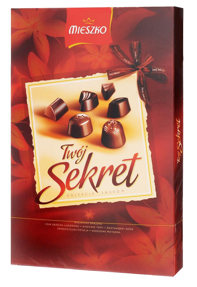 Mieszko Твой Секрет набор шоколадных конфет, 162 г0120710Шоколадные конфеты с начинкой Mieszko Твой Секрет - ассорти в десертном и молочном шоколаде, которое состоит из 6 вкусов и займет достойное место как на праздничном столе так и как повседневное лакомство к чаю.