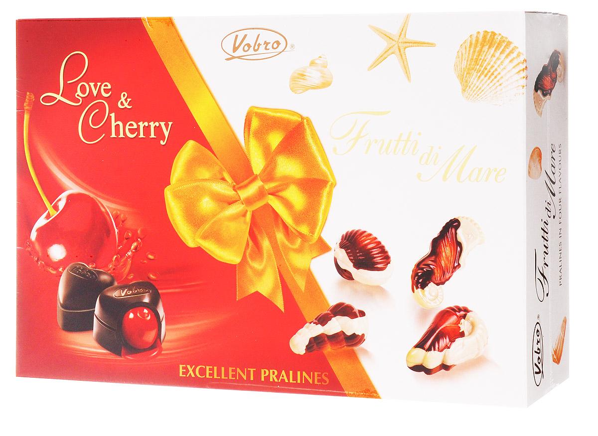 Vobro Exellent Pralines Отличное пралине набор шоколадных конфет, 330 г0120710Двойная радость от чувственных шоколадных конфет в элегантной упаковке. Коробка конфет Excellent Pralines оправдает ожидания всех гурманов шоколадных конфет, которые не любят себе отказывать в любимых вкусах.Excellent Pralines - это сочетание двух вкусов: чувственных конфет с вишней в ликере Love&Cherry и тонких пралине Frutti di Mare, созданных в композиции белого и черного шоколада с деликатным кремовым наполнением. Содержимое коробки - это незабываемые вкусовые ощущения.