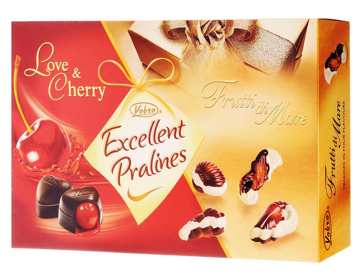 Vobro Exellent Pralines Отличное пралине набор шоколадных конфет, 330 г4009900498159Двойная радость от чувственных шоколадных конфет в элегантной упаковке. Коробка конфет Excellent Pralines оправдает ожидания всех гурманов шоколадных конфет, которые не любят себе отказывать в любимых вкусах.Excellent Pralines - это сочетание двух вкусов: чувственных конфет с вишней в ликере Love&Cherry и тонких пралине Frutti di Mare, созданных в композиции белого и черного шоколада с деликатным кремовым наполнением. Содержимое коробки - это незабываемые вкусовые ощущения.