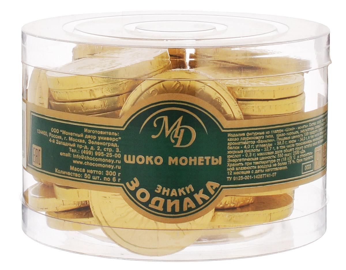 Монетный двор Шоколадные монеты Знаки Зодиака, 50 шт по 6 г (пластиковая банка)1410111/5Шоколад не зря ценился нашими предками на вес золота — в этом продукте кроются удивительные свойства, которые способствуют поднятию настроения и дарят улыбку, не говоря уже об удивительном, ярком вкусе, которым обладает настоящий шоколад отборных сортов. Все эти качества, а еще необычный внешний вид сошлись в одном из самых популярных продуктов — шоколадных монетах.Шоколадные монеты Знаки зодиака - изящные, красивые и, конечно, очень вкусные, выполненные из нежнейшей шоколадной глазури.