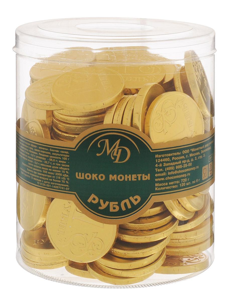 Монетный двор Шоколадные монеты Рубль, 120 шт по 6 г (пластиковая банка)21333-2Шоколад не зря ценился нашими предками на вес золота - в этом продукте кроются удивительные свойства, которые способствуют поднятию настроения и дарят улыбку, не говоря уже об удивительном, ярком вкусе, которым обладает настоящий шоколад отборных сортов. Все эти качества, а еще необычный внешний вид сошлись в одном из самых популярных продуктов - шоколадных монетах.Шоколадные монеты Рубль - настоящий клад, правда, выполненный не из драгоценного металла, а из очень вкусной шоколадной глазури.