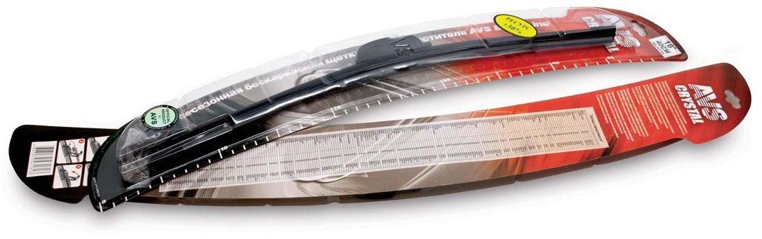 Щетка стеклоочистителя AVS, бескаркасная, длина 45 см, 1 шт2615S545JBЩетка стеклоочистителя AVS - это щётка нового поколения, изготавливается с использованием новейших технологий и отвечает современным зарубежным стандартам качества. Самый распространенный адаптер обеспечивает возможность установки на большинство (более 95%) российских и иностранных автомобилей с традиционными типами поводков. Резиновые элементы щёток имеют графитовое покрытие, которое, помимо эффекта износостойкости и бесшумности, обеспечивает эффективное и правильное скольжение по поверхности стекла и высокую степень его очистки. Аэродинамическая бескаркасная конструкция щёток обеспечивает идеальное прилегание лезвия стеклоочистителя к стеклу. Применение высокотехнологичных современных материалов при производстве обеспечивает возможность длительной эксплуатации щёток без потери качества очистки. Щётки предназначены для всесезонной эксплуатации в широком диапазоне температур.