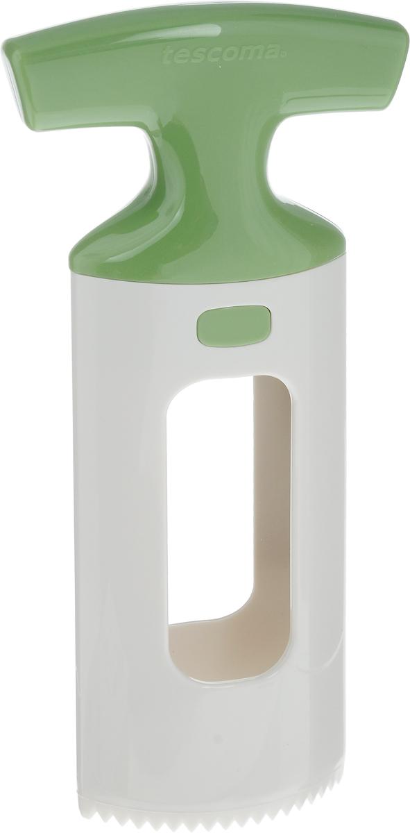 Приспособление для нарезки манго Tescoma Handy, цвет: белый, салатовый115510Приспособление для нарезки манго Tescoma Handy изготовлено из прочного пищевого пластика. Изделие замечательно для простого отделения косточки манго от мякоти, подходит для малых и больших фруктов. Можно мыть в посудомоечной машине.