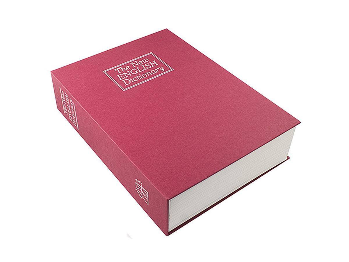 Книга-сейф Эврика Английский словарь, цвет: красный, 26,5 х 20 х 7 см34719Книга-сейф Эврика Английский словарь - точная имитация книги. Будучи поставленным накнижную полку, он ловко затеряется среди настоящей литературы, сохранив в тайне вашисекреты или сбережения. В оформлении применено тиснение серебристой фольгой. Внутрипластикового корпуса находится металлическое хранилище с надёжным замком, к которомуприлагается комплект из двух ключей. Рекомендуем хранить запасной ключ отдельно, на случай утраты основного.