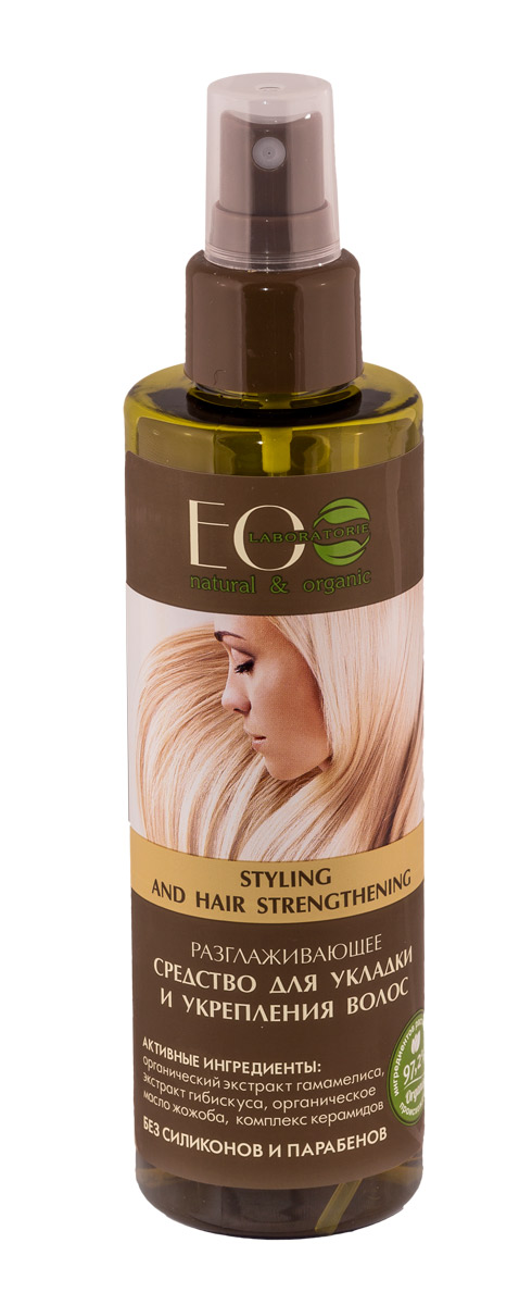 EcoLab ЭкоЛаб Средство для укладки и укрепления волос разглаживающее 200 мл1106462021Легкое и питательное средство для улучшения состояния волос. Облегчает укладку.Восстанавливает естественный водный баланс и белковую структуру волос. Активные ингредиенты: органический экстракт гамамелиса, экстракт гибискуса, органическое масло жожоба, комплекс керамидов.