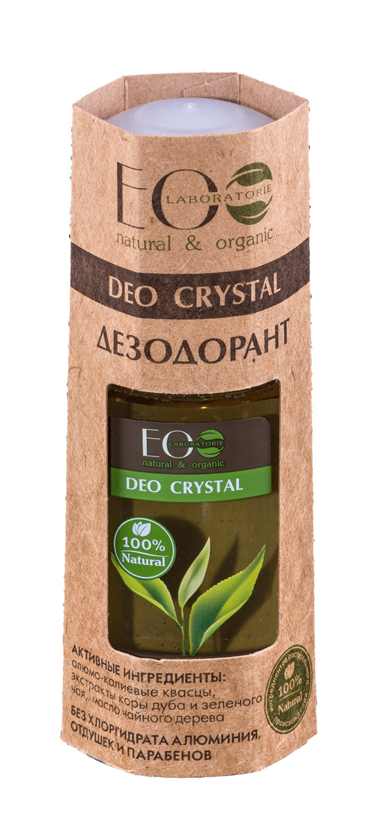 EcoLab ЭкоЛаб Дезодорант для тела Deo Crystal Кора дуба и зеленый чай 50 мл4627089430939Натуральный дезодорат обладает всеми достоинствами антиперсперанта (нормализует потоотделение и нейтрализует запах), не забтвает поры, безопасен и полезен для кожи. Активные ингредиенты: алюмо-калиевые квасцы, экстракты коры дуба и зеленого чая, масло чайного дерева