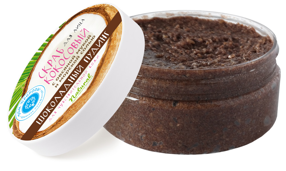 """Мануфактура Дом природы Кокосовый скраб для лица Шоколадный пудинг для чувствительной кожи150 гCF04Кокосовый скраб для лица """"Шоколадный пудинг"""" - словно изысканный десерт. Его формула была разработана специально для чувствительной кожи. Входящие в его состав абсолют и масло какао активно питают, смягчают и успокаивают даже самую чувствительную кожу лица, устраняя раздражения и создавая ощущение комфорта как после спа-процедуры в элитном салоне. Экстракты череды и шалфея помогут выровнять тон кожи."""