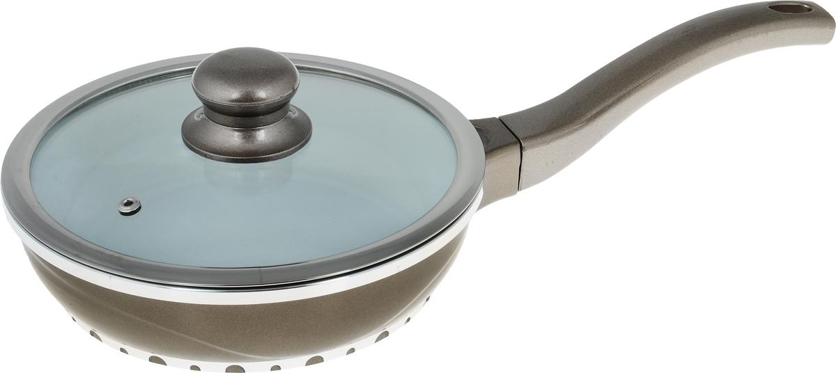 Сковорода Rainstahl с крышкой, с керамическим покрытием, цвет: светло-коричневый. Диаметр 20 см7950RS_светло-коричневыйСковорода Rainstahl изготовлена из литого алюминия с антипригарным керамическим покрытием. Благодаря керамическому покрытию пища не пригорает и не прилипает к поверхности сковороды, что позволяет готовить с минимальным количеством масла. Кроме того, такое покрытие абсолютно безопасно для здоровья человека и окружающей среды. Пища в такой сковороде нагревается быстро и дольше держит тепло. Сковорода оснащена ручкой, выполненной из пластика. Такая ручка не нагревается в процессе готовки и обеспечивает надежный хват. Крышка изготовлена из жаропрочного стекла, оснащена ручкой, отверстием для выпуска пара и металлическим ободом. Благодаря такой крышке можно следить за приготовлением пищи без потери тепла. Подходит для газовых, электрических, стеклокерамических, галогеновых и индукционных плит. Можно мыть в посудомоечной машине.Высота стенки сковороды: 5,5 см. Длина ручки: 17 см.