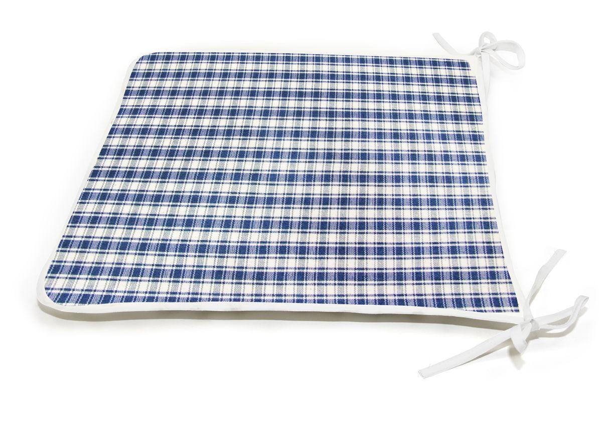 Подушка на стул KauffOrt Коттедж, цвет: синий, 39 x 40 смVT-1520(SR)Подушка на стул KauffOrt Коттедж не только красиво дополнит интерьер кухни, но и обеспечит комфорт при сидении. Чехол выполнен из хлопка, полиэстера и акрила, а наполнитель из синтепона. Подушка легко крепится на стул с помощью завязок. Правильно сидеть - значит сохранить здоровье на долгие годы. Жесткие сидения подвергают наше здоровье опасности. Подушка с мягким наполнителем поможет предотвратить большинство нежелательных последствий сидячего образа жизни.