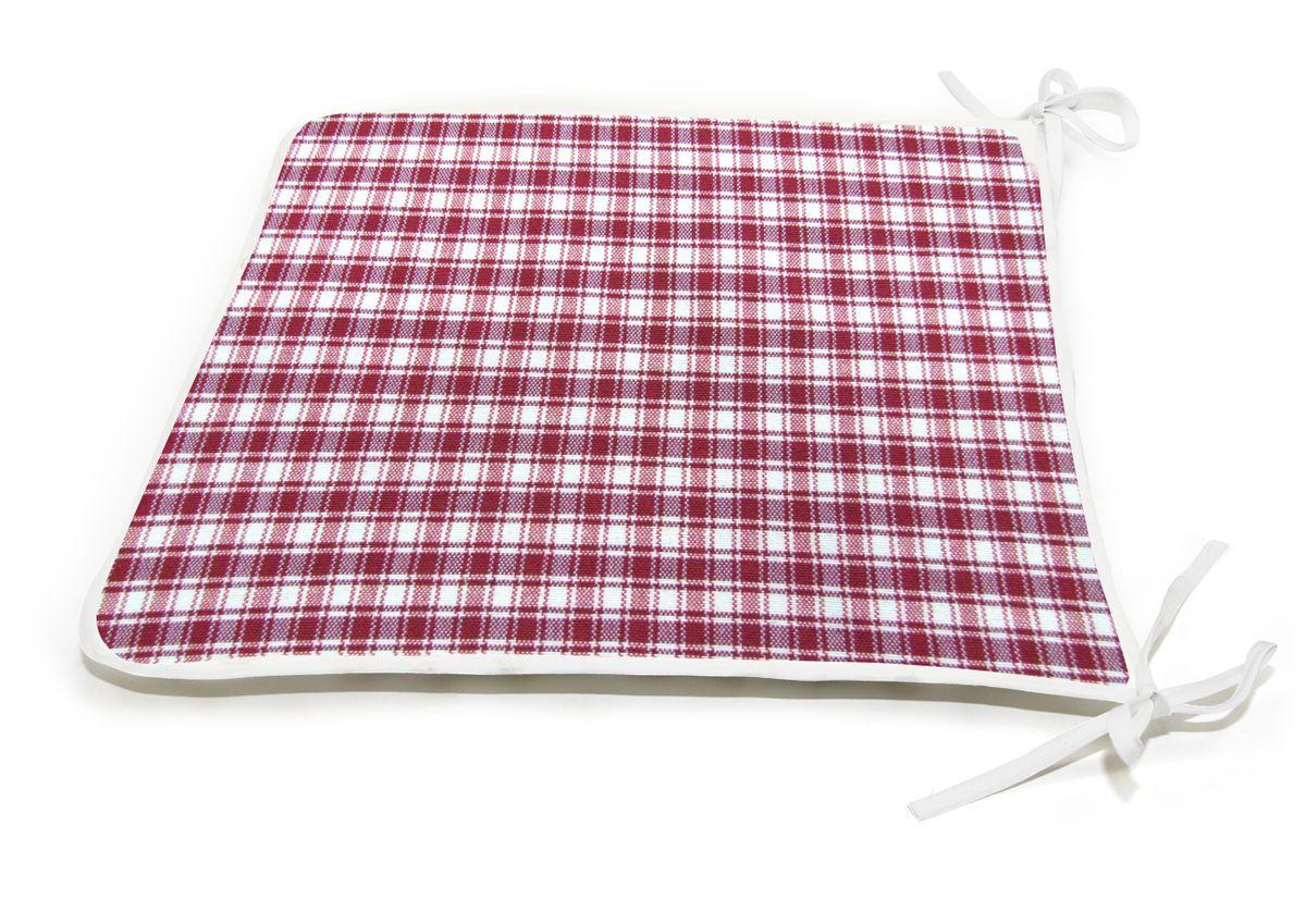 Подушка на стул KauffOrt Коттедж, цвет: красный, 39 x 40 см3112113670Подушка на стул KauffOrt Коттедж не только красиво дополнит интерьер кухни, но и обеспечит комфорт при сидении. Чехол выполнен из хлопка, полиэстера и акрила, а наполнитель из синтепона. Подушка легко крепится на стул с помощью завязок. Правильно сидеть - значит сохранить здоровье на долгие годы. Жесткие сидения подвергают наше здоровье опасности. Подушка с мягким наполнителем поможет предотвратить большинство нежелательных последствий сидячего образа жизни.