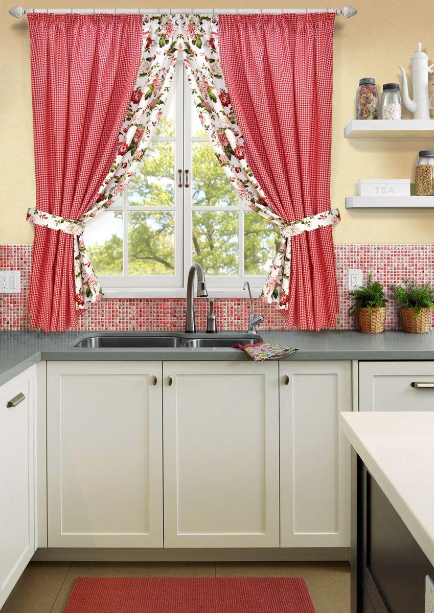 Комплект штор для кухни KauffOrt Лилу, на ленте, высота 175 см. 31202151753120215175Роскошный комплект Kauffort Лилу состоит из двух штор и двух подхватов. Шторы изготовлены из полотна с клетчатым рисунком. Для придания изящного внешнего вида шторы присбориваются с помощью подхватов. Шторы оснащены шторной лентой для красивой сборки.