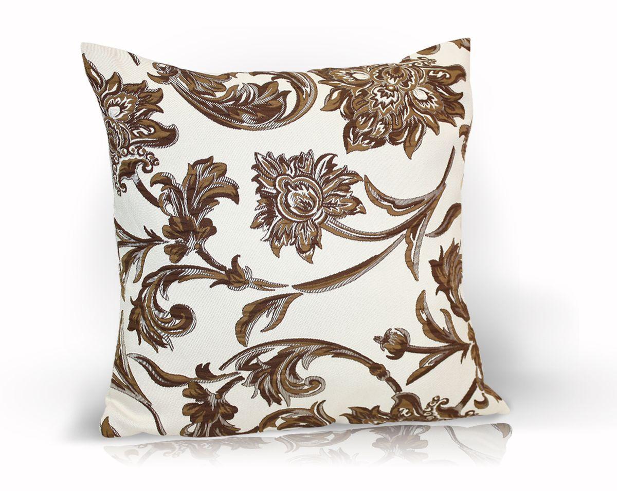 Подушка декоративная KauffOrt Руан, цвет: коричневый, 40 x 40 см531-105Декоративная подушка Руан прекрасно дополнит интерьер спальни или гостиной. Чехол подушки выполнен из двухстороннего жаккарда. Внутри находится мягкий наполнитель. Чехол легко снимается благодаря потайной молнии.